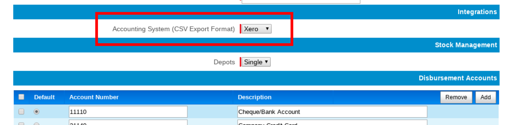 Select Xero Export Format